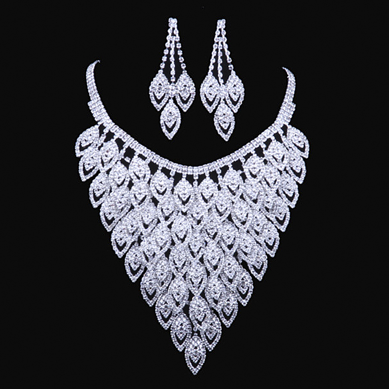 Luxury Fashion Women Crystal Jewelry Set Romantic bridal jewelry sets Wedding Party Costume African Beads Dress Accessories N112