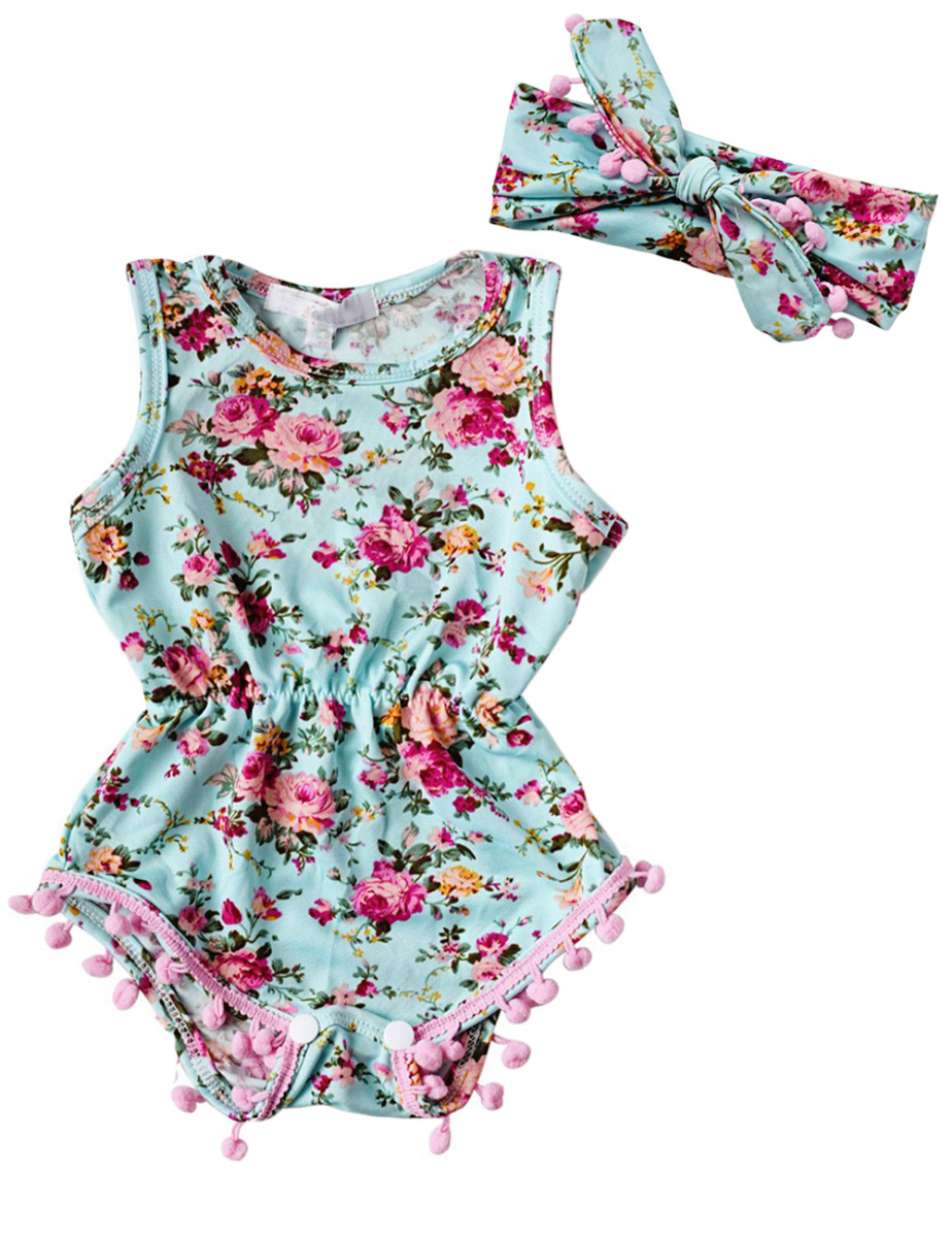 UK Newborn Infant Baby Girl Sunsuit Rompers Clothes Outfit Set Playsuit Jumpsuit