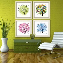 & 33x33cm Four Seasons flower Tree DIY 5D Diamond Embroidery Mosaic crystal needlework diamond Painting Cross Stitch Kits(China)