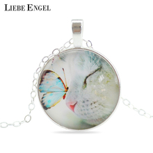 LIEBE ENGEL Vintage Fine Jewelry Glass Cabochon Necklace&Pendant Butterfly Statement Chain Necklace Silver Color Jewelry  Women