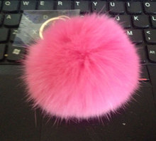 Pick 15 colors 8CM Genuine Leather Rabbit fur ball plush key chains car key rings Bag Pendant car key chain(China)