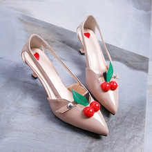 2017 new British goddess dating essential personality cherry decoration fine with pointed high heels single shoes female(China)