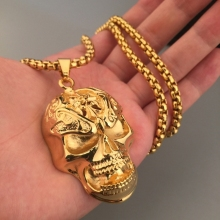 Stainless Steel Skull Pendant Necklace Link Chain Golden Silver Color Hip Hop Fashion for Men Women 2017 Cool Jewelry