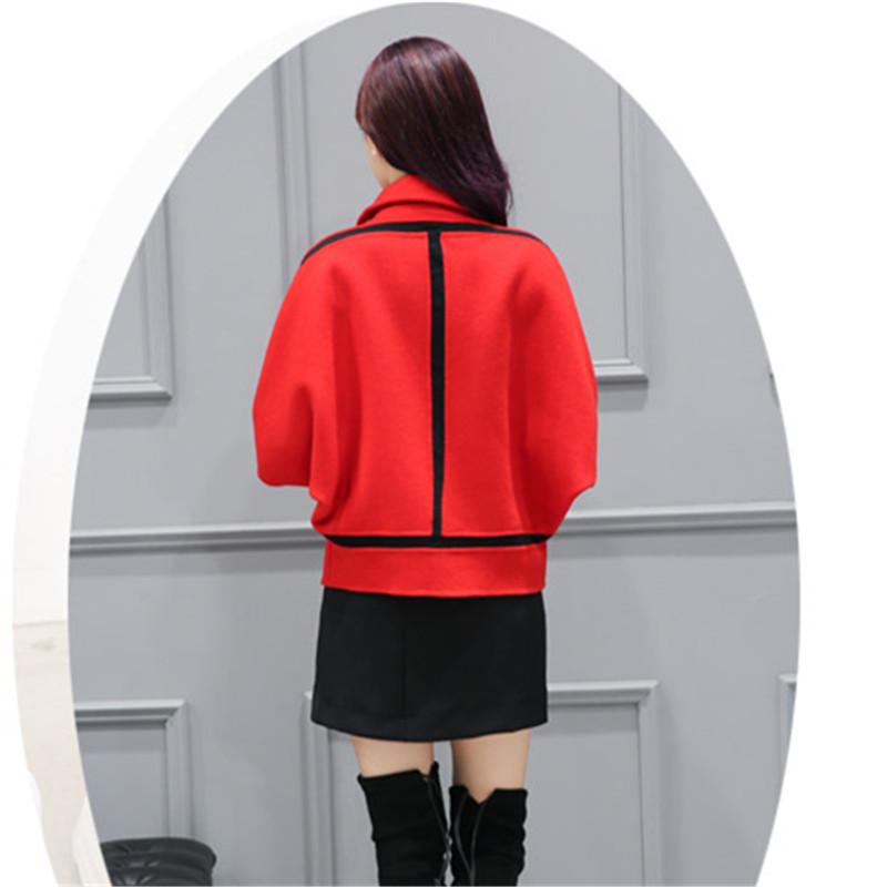 Spring Elegant Women Slim Coat Fur Color Short Sleeve High Quality Streetwear Red Yellow Coat 2018 12 Online shopping Bangladesh