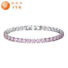 Colorful CZ Fashion Charm Bracelet Cubic Zircon Silver color Jewelry for Women Wedding Party Wholesale BR0122