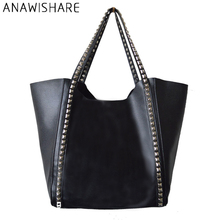 ANAWISHARE Women Totes Bags Leather Handbags Large Rivet Shoulder Bags With Small Crossbody Bags A Set Bolsa Feminina Wlk8(China)