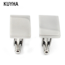 Cufflink Jewelry 316L Stainless Steel Fashion Men's Cufflinks Rectangle Shape Business Cuff Links Blank Cufflinks Sets for Men(China)