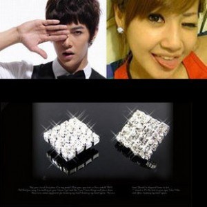 E069 jewelry Wholesale cute Shiny Full Crystal Squared Earrings Vogue Men Women Imitation Rhinestone Ear Studs free shipping(China (Mainland))