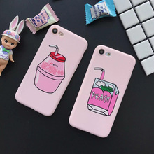 JiBan Mobile Shell for iphone 7 8 plus X yogurt milk pink matte tpu soft shell for iphone 6 6S plus female tide all inclusive(China)