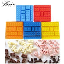 Aouke 1PCS Lego Brick Blocks Shaped Rectangular DIY Chocolate Silicone Mold Ice Cube Tray Cake Tools Fondant Moulds