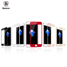 Baseus 0.23MM Anti blue light Screen Protector Tempered Glass For iPhone 7 7 Plus Soft 3D Soft Edge Full Coverage Red 5 colors