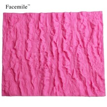 Facemile New Brand Bark Shaped Tree Silicone Mold for Fondant Cake Edge Lace Mat Baking Forms 50-171(China)