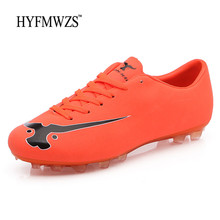 HYFMWZS Men's Outdoor Soccer Shoes Cleats Boys Kids Crampon Original Sport Football Shoes Men Training Sneakers Chuteira Futebol