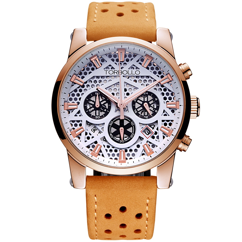 High Quality Original Brand Leather Dress Mens Watch Men Gold White Chronograph Hours Water Resistant<br>