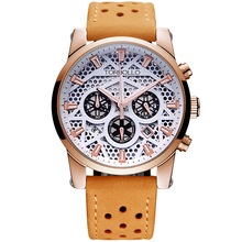 High Quality Original Brand Leather Dress Mens Watch Men Gold White Chronograph Hours Water Resistant(China)