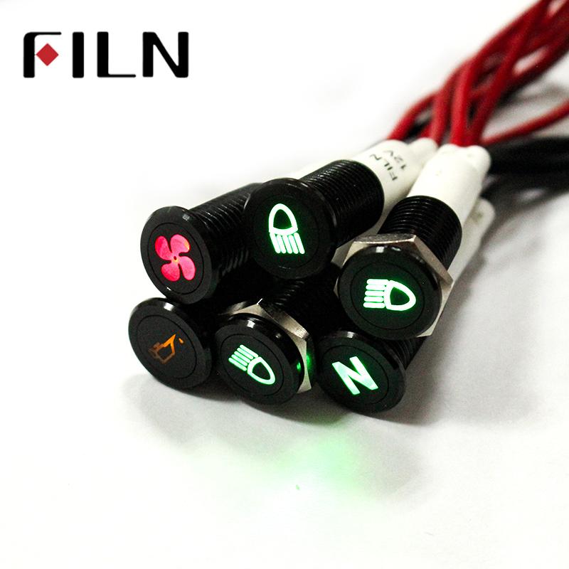 Waterproof FILN 12V LED Car Boat LED Warning Dashboard Signal Lights Instrument Pilot Lamp 220V 10mm
