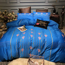 2018 Embroidered Luxury Pastoral style Bedding Set Egyptian Cotton Silky 4pcs King Queen Size Bed Set Duvet Cover Bed sheet set(China)