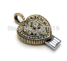 Usb Stick USB flash drive  4GB-32GB Diamond crystal heart USB Flash 2.0 Memory Drive Stick   S124pendrive