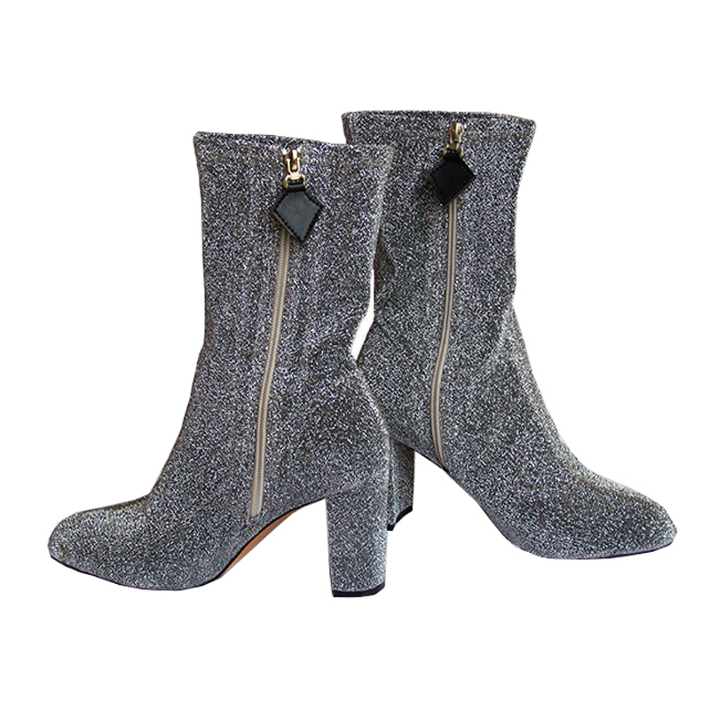 Womens High Heel Boots Fashion Stretch Fabric Booties Chunky High Heel Shoes Woman Pointed Toe Autumn Boots Casual Ankle Boots<br>