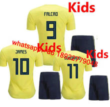 2018 World Cup Colombia kids soccer jersey 2018 child FALCAO JAMES CUADRADO TEO BACCA Children football shirts jerseys(China)