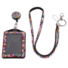 Rhinestone Lanyard Sling 5 Colors Bus IC Card Holder Employee Identity Card Badge With Lanyard Hang Rope Card Holder 677576