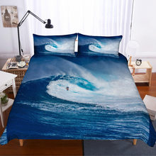 MUSOLEI 3D Duvet Cover Set spindrift Blue Sea Big Winds Rapid Surf bedding set Bed Sheet Twin queen king(China)