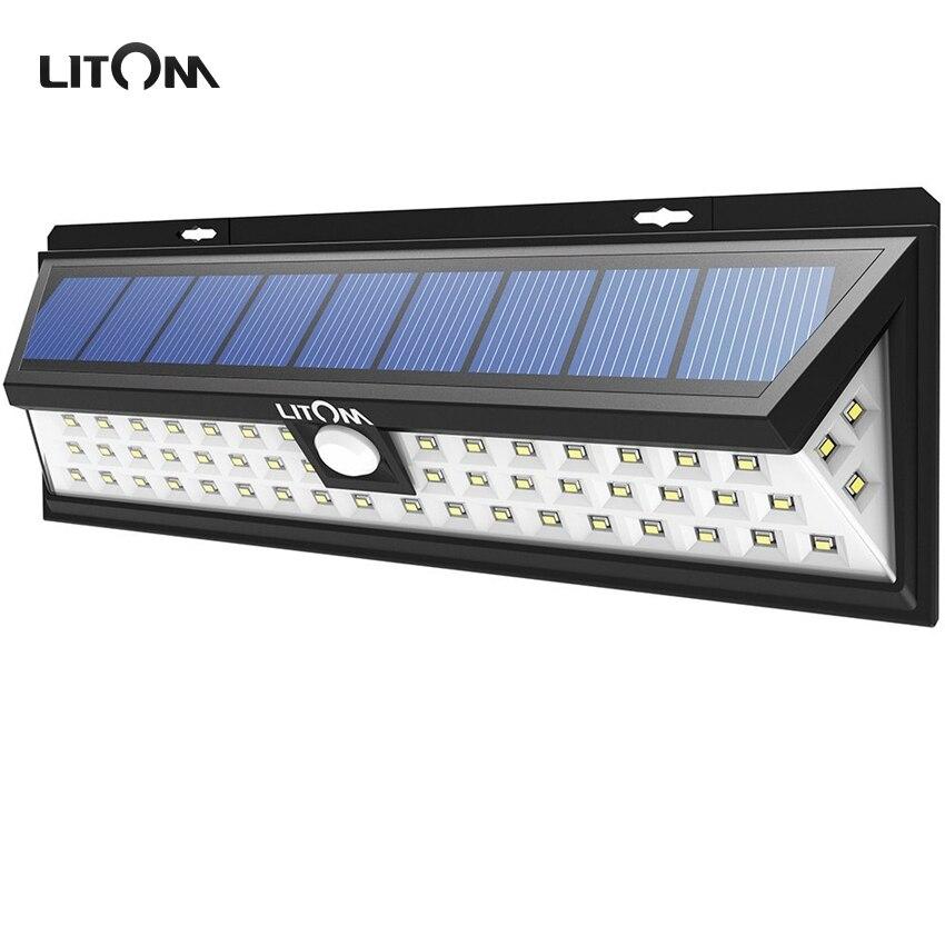 LITOM 54 LED Solar Lights Night lampion Motion Sensor Waterproof Outside Wall Patio Yard LED Solar Lighting Energy Garden Lamp <br>