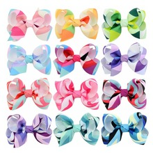 60 pcs/lot, Girls Twisted Boutique Bow hair clips , Colorful Ribbon Hair Bow clips(China)