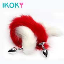 IKOKY Butt Plug Stainless Steel Fox Tail Anal Sex Toys for Women Anal Plug Funny Sex Games Adult Products(China)
