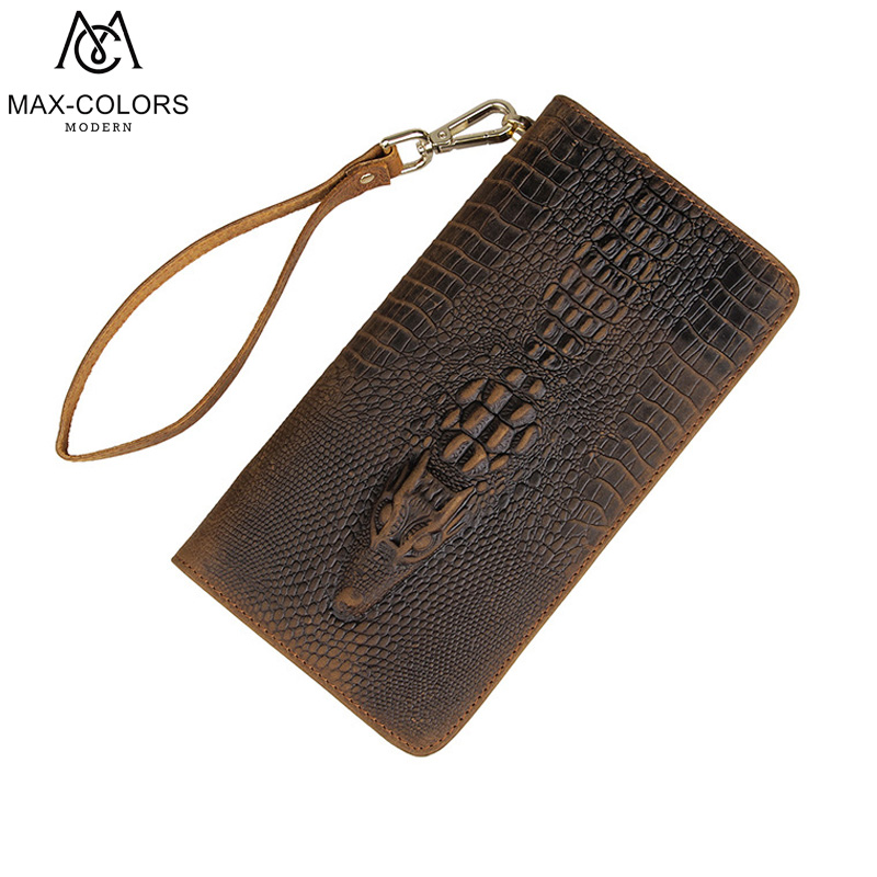 Genuine Leather Men Wallets Zipper Male Wallet Men Purse Fashion Male Long Phone Wallet Mans Clutch Bags Alligators Style<br>