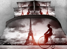 JF-150 Classical building series 4pcs Eiffel Tower and bicycle print bedding set HD Digital print