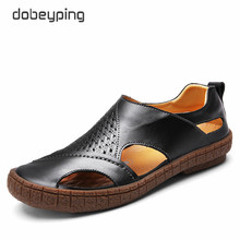 2017 New Men's Sandals Casual Genuine Leather Man Summer Shoes Fashion Breathable Male Loafers Soft Driving Shoe Beach Men Flats(China)