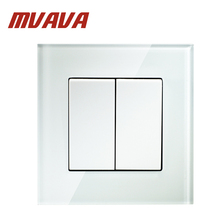 MVAVA Push Button Light Wall Switch 2 Gang 1 Way 16A 250V Luxury Crystal Glass Panel Factory Direct Sale Free Shipping