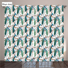 Curtains Kitchen Windows Peacock Decor Collection Blooming Tree Leaves Green Blue Brown Living Room Bedroom 2 Panels 145*265 sm
