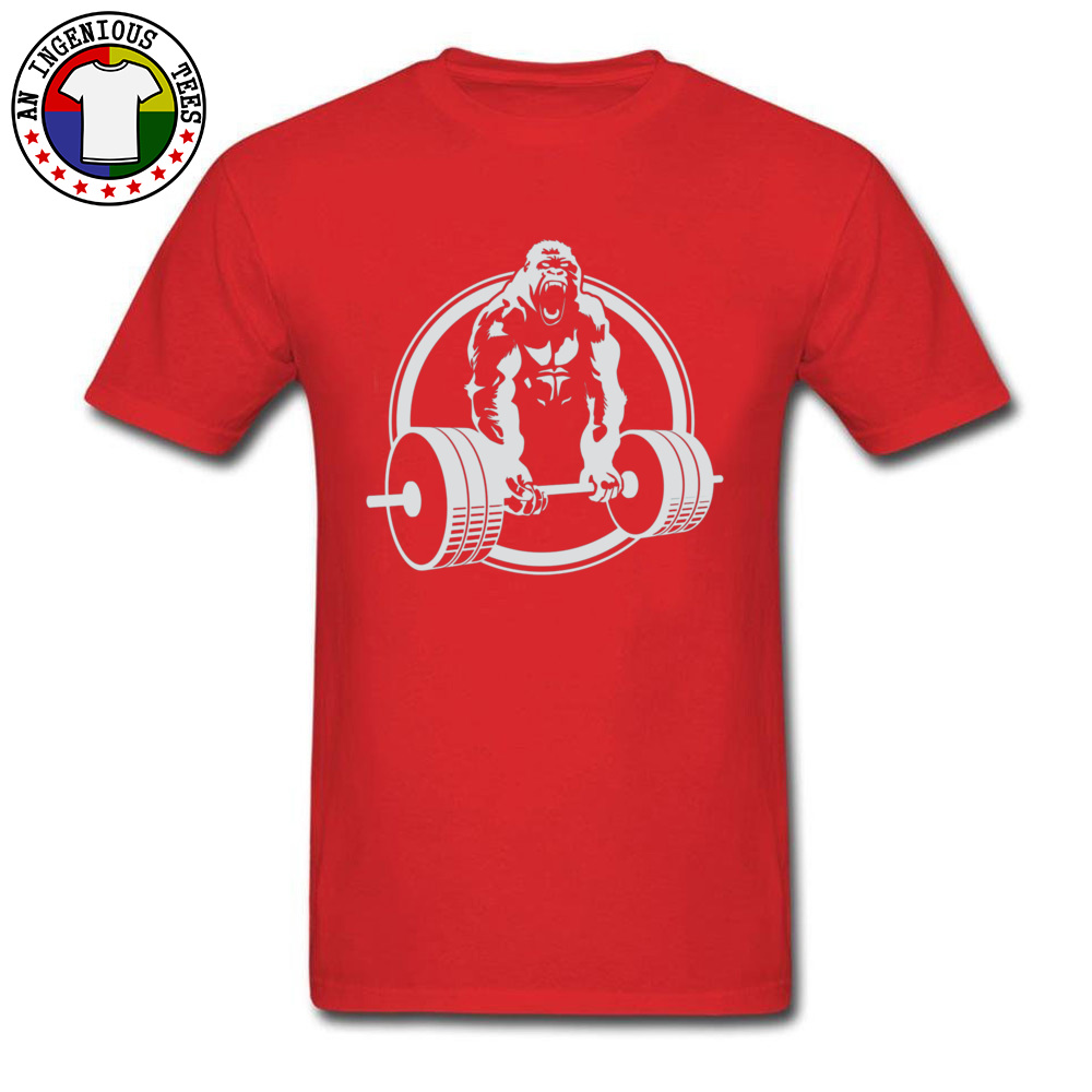 Casual Family Short Sleeve Printed T Shirts 100% Cotton O-Neck Men Tops & Tees Street Tshirts VALENTINE DAY Drop Shipping Gorilla Lifting Fitness Gym Tee 24451 red