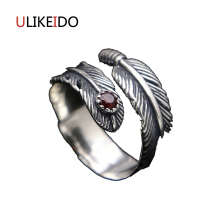 100% Pure 925 Sterling Silver Jewelry Mens Signet Rings Eagle Feathers Jewelry Opening Ring For Women Birthday Gift 156