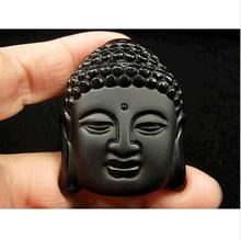 Hot Sale Natural Crystal Stone Obsidian Buddha Head Pendant Mean Male Fashion pendant wholesale price free shipping(China)