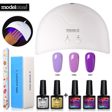 Modelones 8Pcs/Lot DIY Nail Art Tools Nature1 Led Lamp Nail Dryer Tools Any 3 Color Nail Gel Kits Pro Nail Set For Beginner User(China)