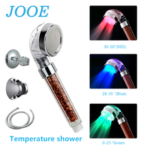 JOOE Chrome Shower Head Spa Anion Shower Filter Head Led Temperature Sensor Duchas 3 Colores ABS Bathroom Accessories Douchekop