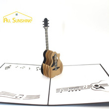 Music Guitar Laser Cut Wedding Invitation Cards Postcard 3D Pop UP Greeting Cards with Envelope Souvenir Wishes Thank You Cards
