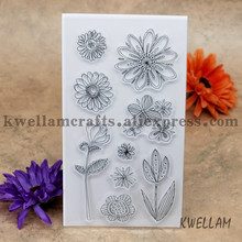 Scrapbook DIY photo cards account rubber stamp clear stamp transparent stamp Flowers Sunflower tulip 11x20cm KW642024(China)