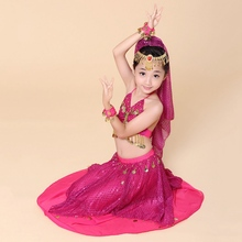Hot Sale Kids Belly Dance Outfits Girls Fancy Bollywood Dance Costumes Children Indian Dancing Dress Sequins Clothing Set