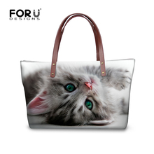 FORUDESIGNS Luxury Cross Body Bags Women 2017 Cute 3D Animal White Cat Printed Women's Casual Messenger Bags Female Shopping Bag(China)