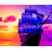 Diamond Cross Stitch round Diamond Embroidery Setting sun boat home decor diy Diamond painting landscape moasicl picture pastes(China)