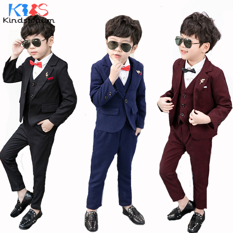 Kindstraum Boys Suits 4pcs for Weddings Cotton Solid Blazer+Vest+Pants+Shirt+Tie Children Formal Suits Kids Clothing Sets, MC911<br>