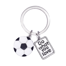 Stylish Hot Selling Do What You Love Stamped Soccer Ball Key Chain For Car And Keys(China)