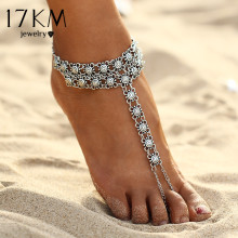 17KM New Vintage Ankle Bracelet Bohemian Flower Anklets Leg Jewelry chaine cheville Silver Color Tassel barefoot sandals(China)