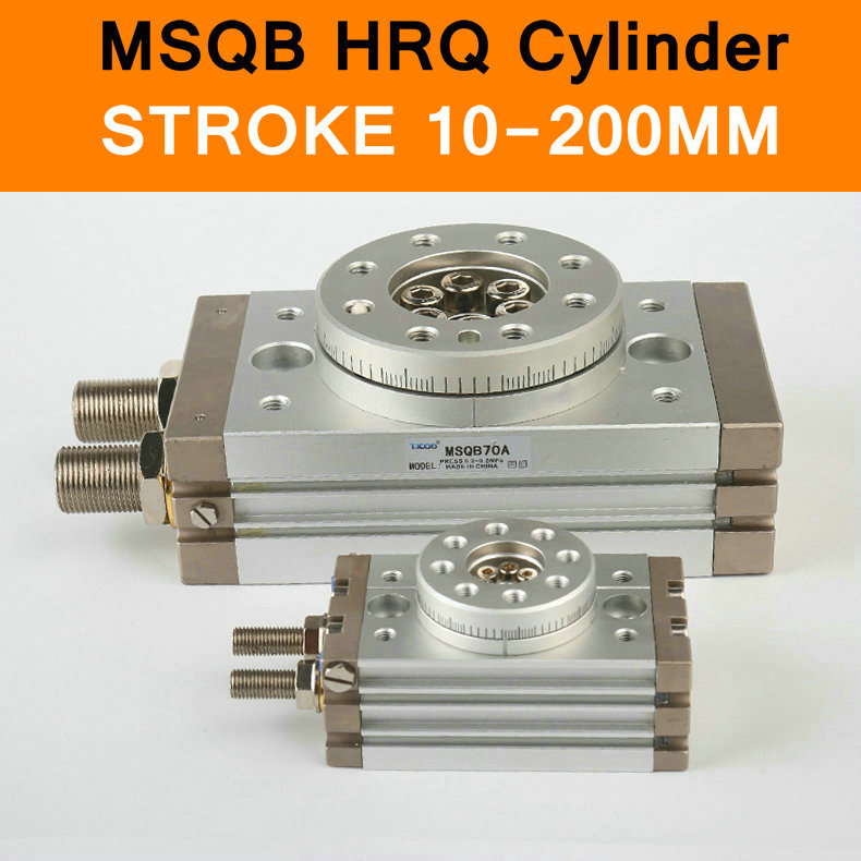 MSQB HRQ SMC Type Rotary Cylinder Stroke 10-200mm Table Oscillating Cylinders 180 Degree Turn R with A without Hydraulic Buffer<br>