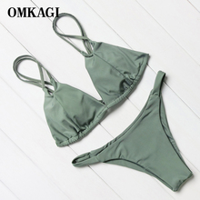 OMKAGI New Solid Bikinis Women Bikini 2017 Push Up Swimwear Brazilian Female Biquini Summer Hater Beach Bathing Suit Swim Wear