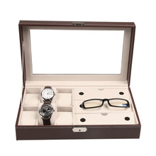 Classy Pu Leather Glasses Watch Organizer Storage Box House Accessories Men's Jewelry Watch Storage Box Organizador